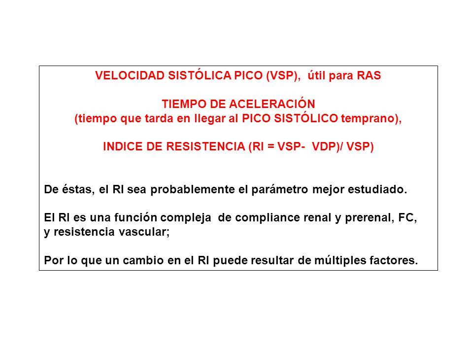 VELOCIDAD SISTÓLICA PICO (VSP), útil para RAS TIEMPO DE ACELERACIÓN
