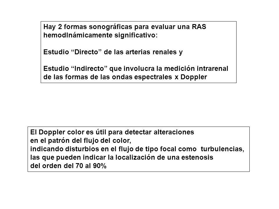 Hay 2 formas sonográficas para evaluar una RAS hemodInámicamente significativo: