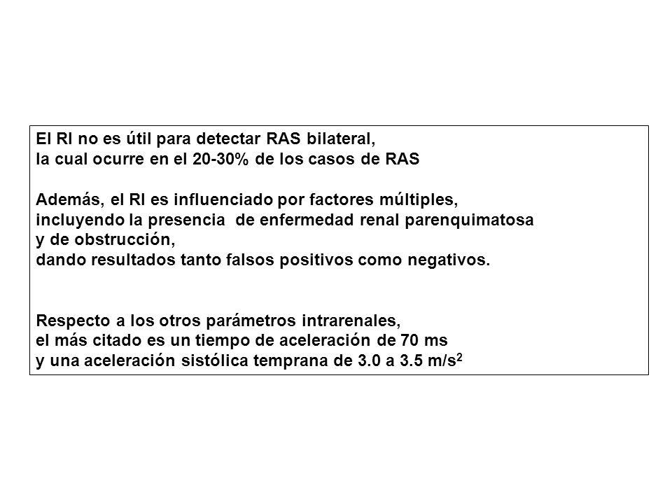 El RI no es útil para detectar RAS bilateral,