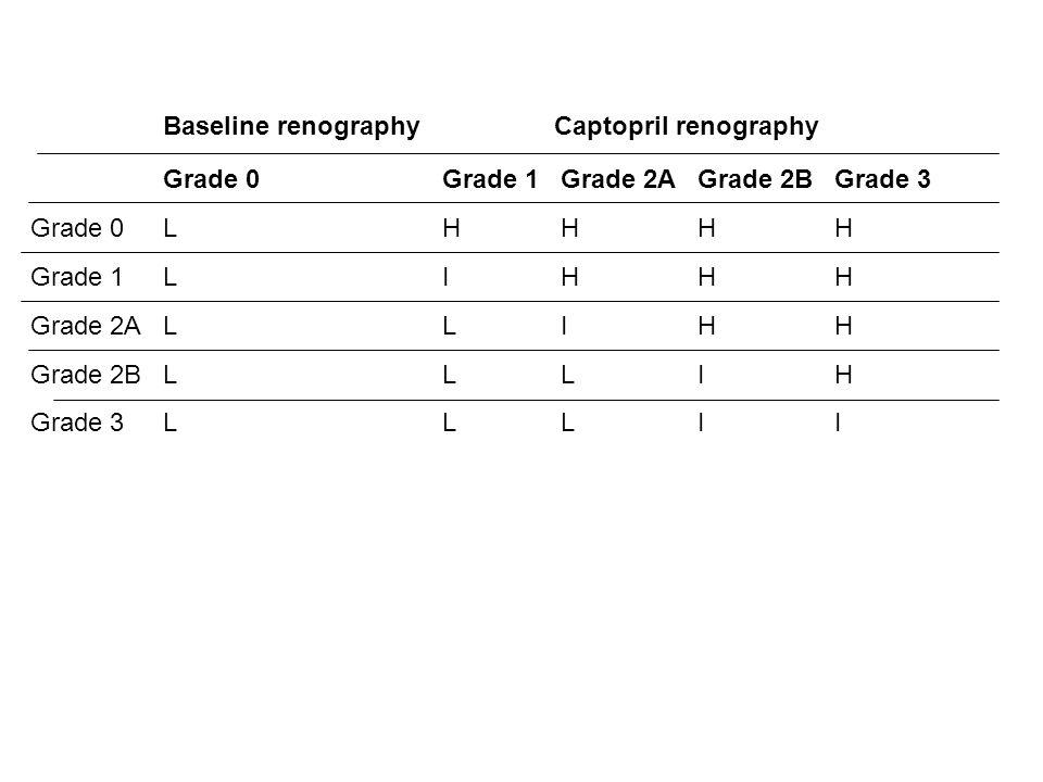 Baseline renography Captopril renography Grade 0 Grade 1 Grade 2A Grade 2B Grade 3 L H I