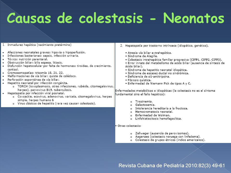 Causas de colestasis - Neonatos