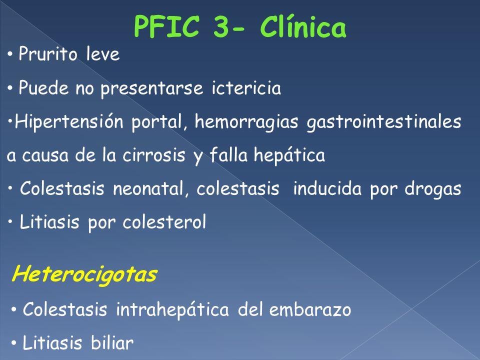 PFIC 3- Clínica Heterocigotas Prurito leve