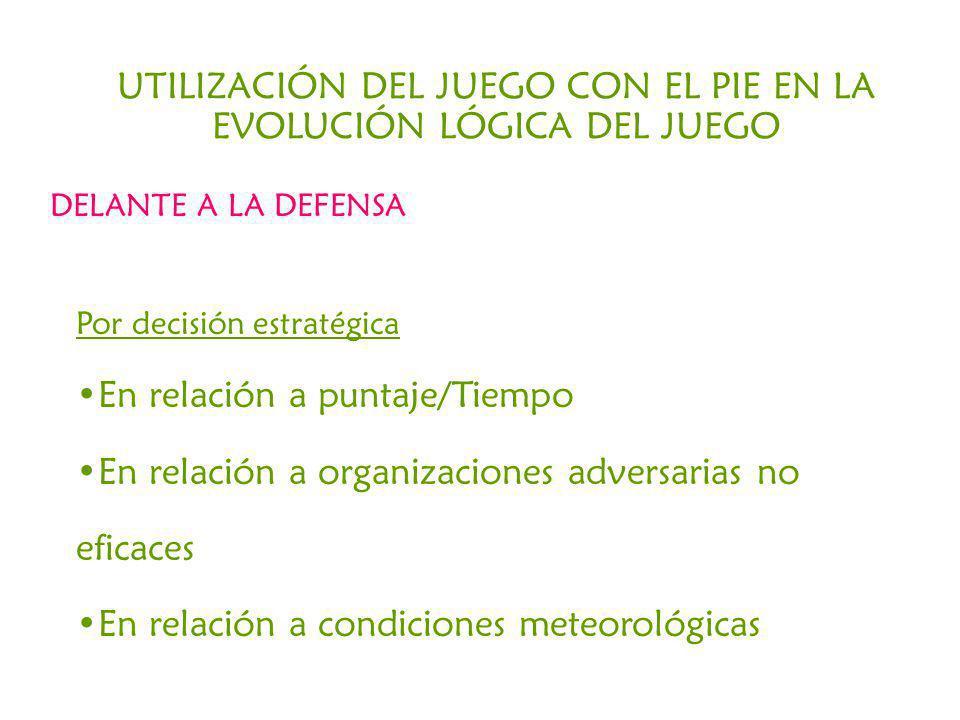 UTILIZACIÓN DEL JUEGO CON EL PIE EN LA EVOLUCIÓN LÓGICA DEL JUEGO