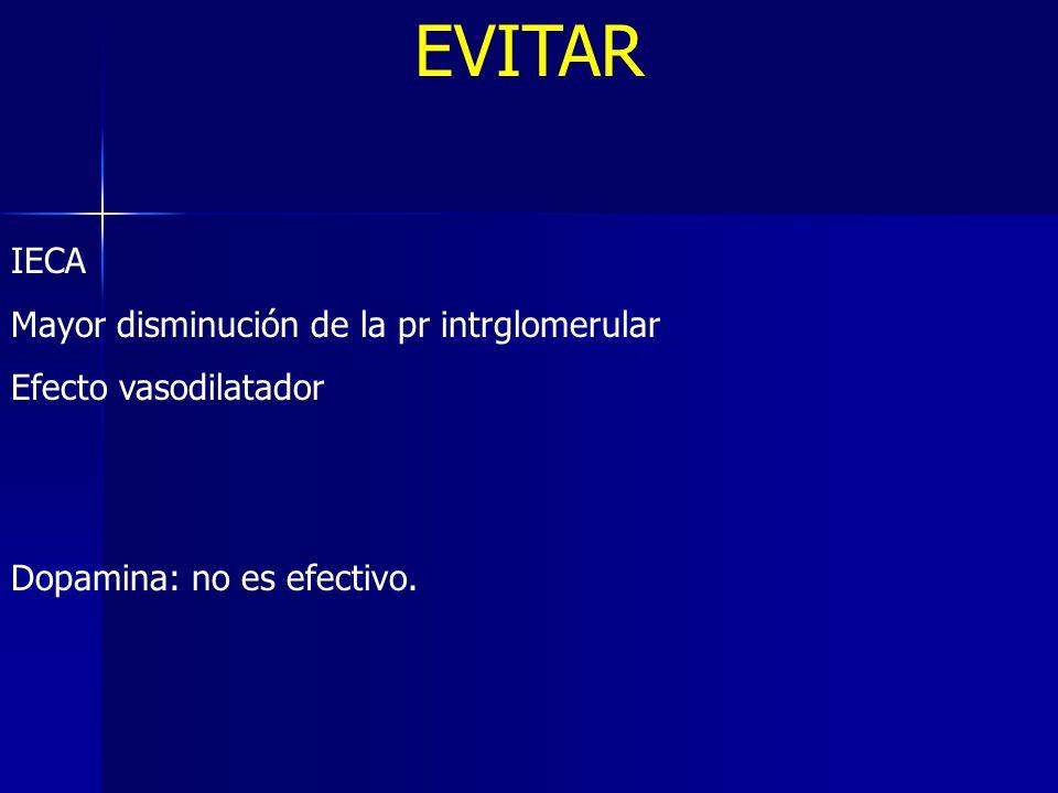 EVITAR IECA Mayor disminución de la pr intrglomerular