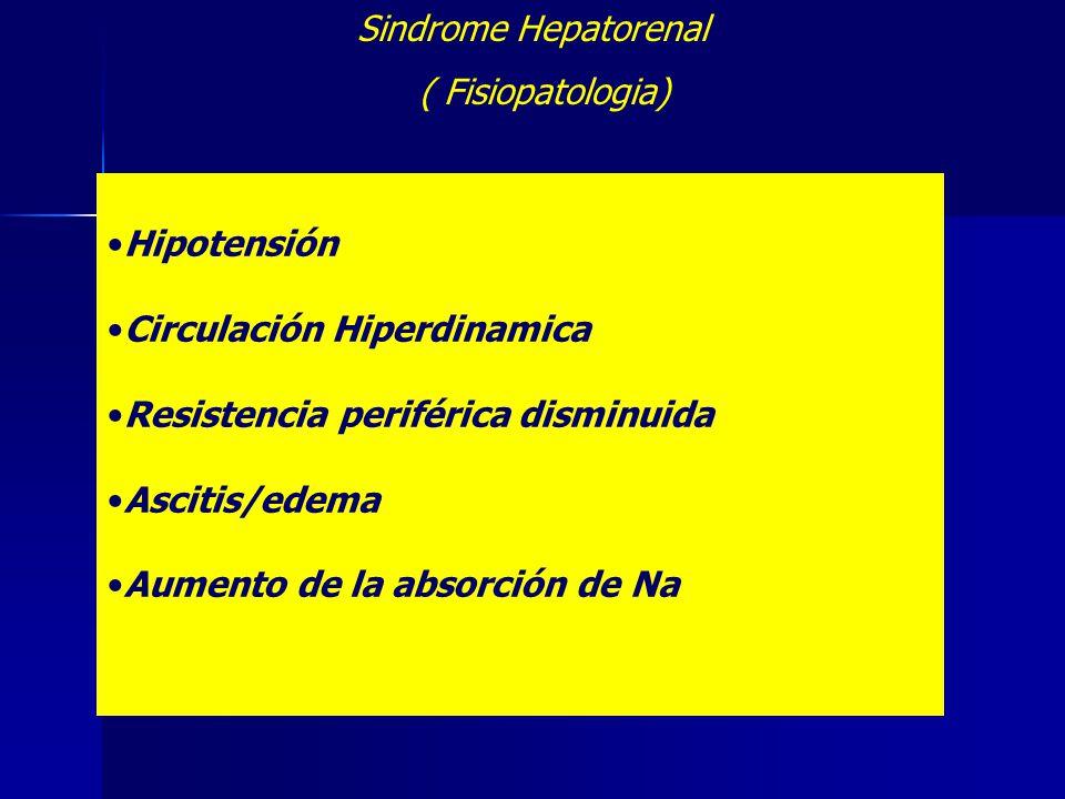 Sindrome Hepatorenal ( Fisiopatologia) Hipotensión. Circulación Hiperdinamica. Resistencia periférica disminuida.