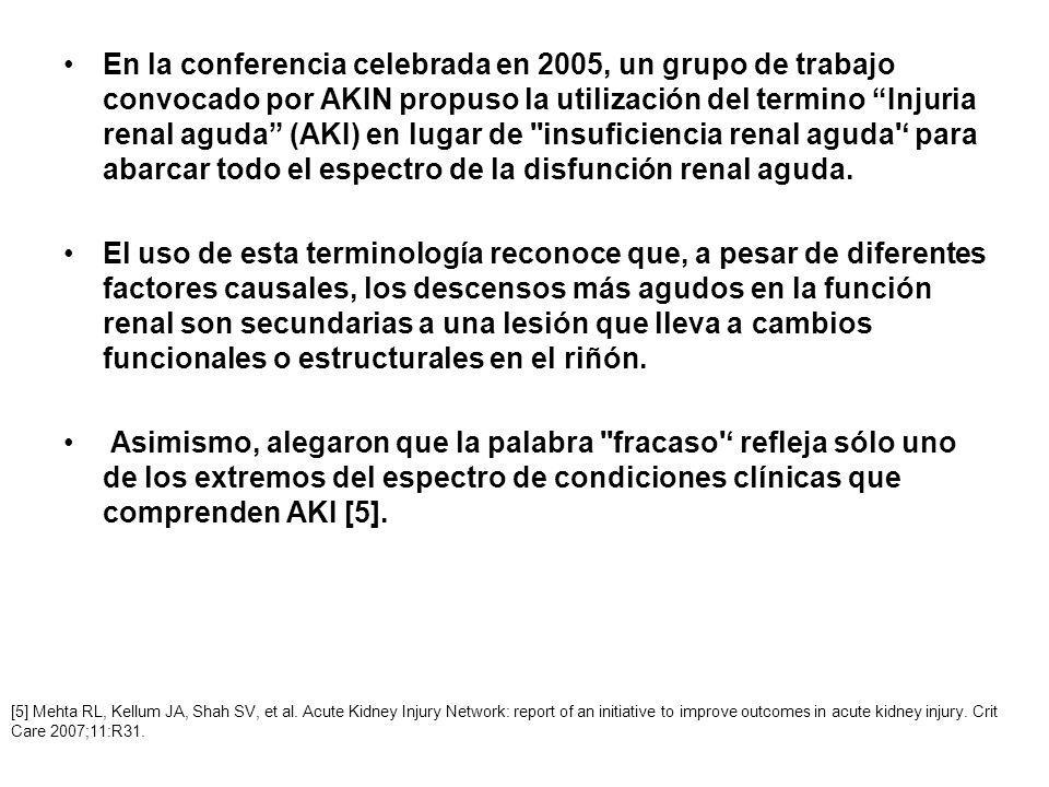 En la conferencia celebrada en 2005, un grupo de trabajo convocado por AKIN propuso la utilización del termino Injuria renal aguda (AKI) en lugar de insuficiencia renal aguda ' para abarcar todo el espectro de la disfunción renal aguda.