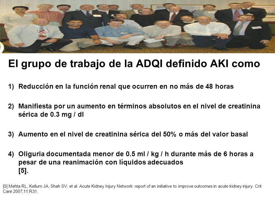 El grupo de trabajo de la ADQI definido AKI como