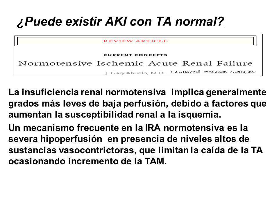 ¿Puede existir AKI con TA normal