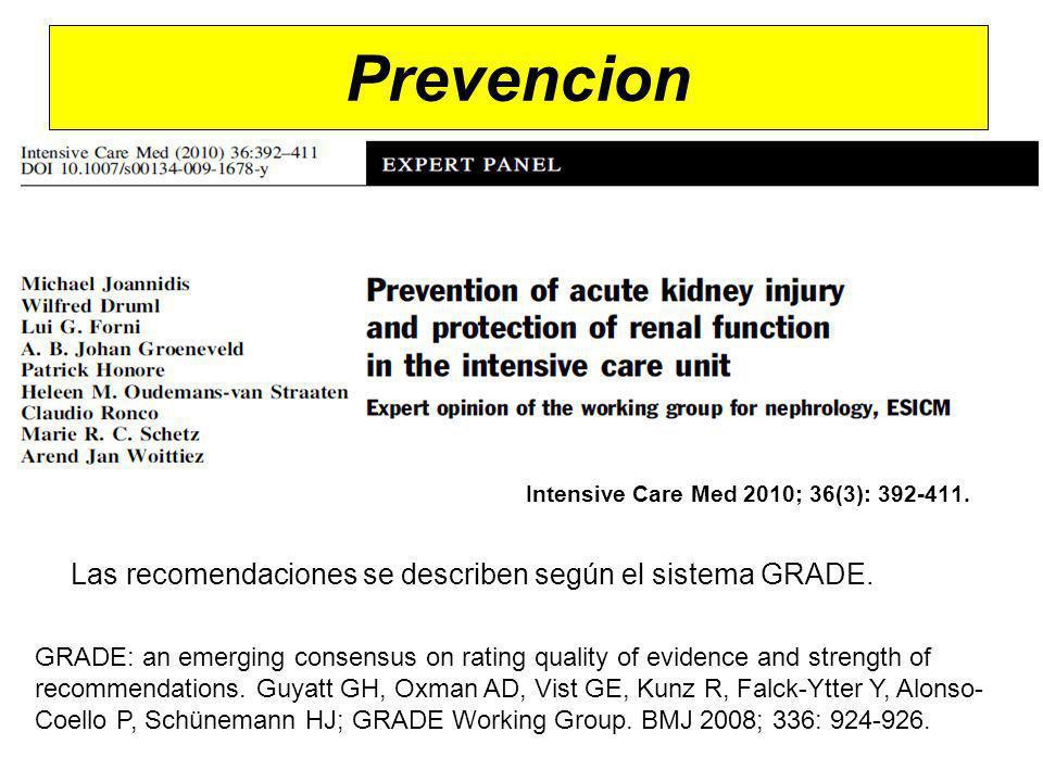 Prevencion Las recomendaciones se describen según el sistema GRADE.