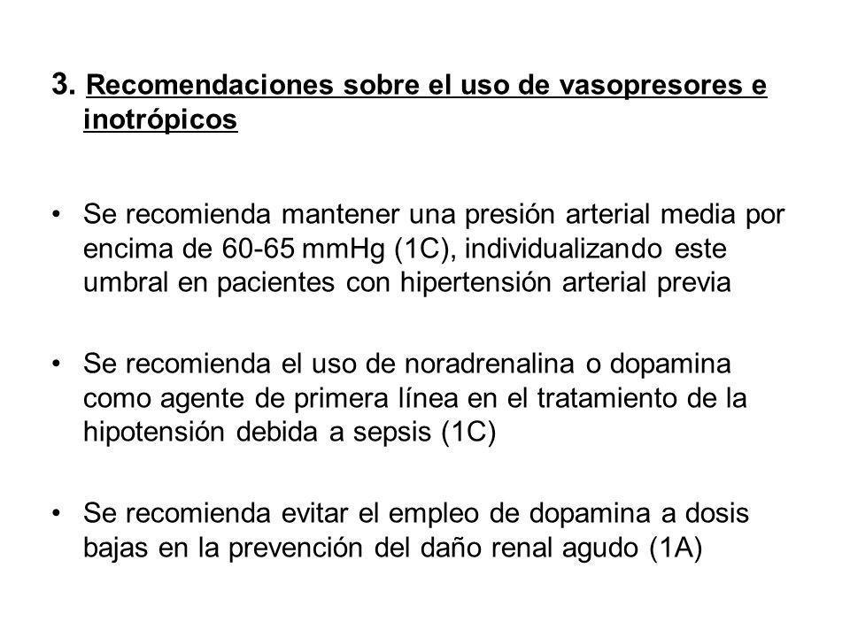 3. Recomendaciones sobre el uso de vasopresores e inotrópicos