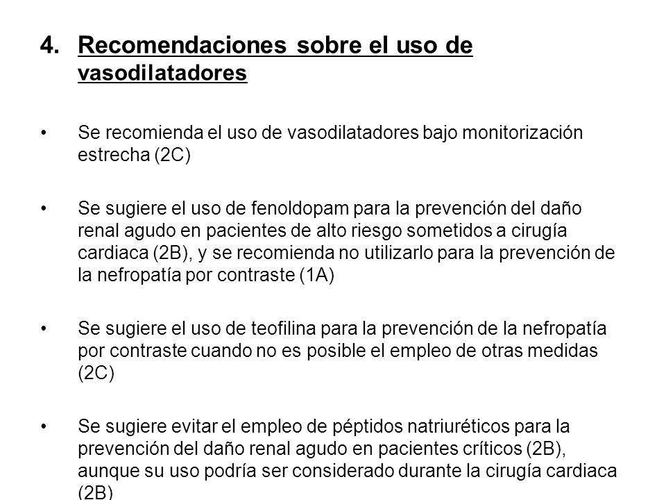 Recomendaciones sobre el uso de vasodilatadores