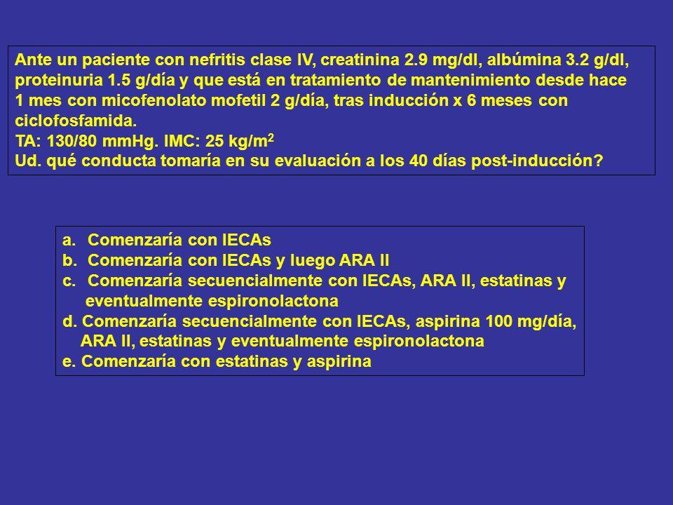 Ante un paciente con nefritis clase IV, creatinina 2
