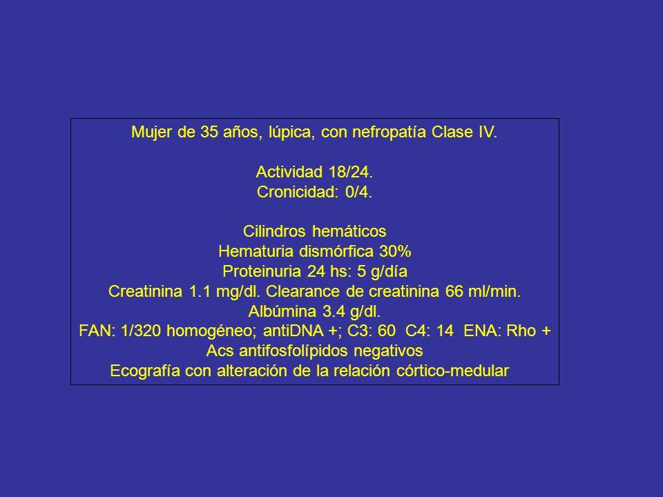 Mujer de 35 años, lúpica, con nefropatía Clase IV. Actividad 18/24.