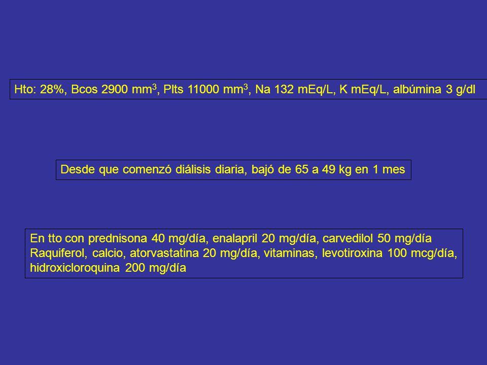 Hto: 28%, Bcos 2900 mm3, Plts 11000 mm3, Na 132 mEq/L, K mEq/L, albúmina 3 g/dl