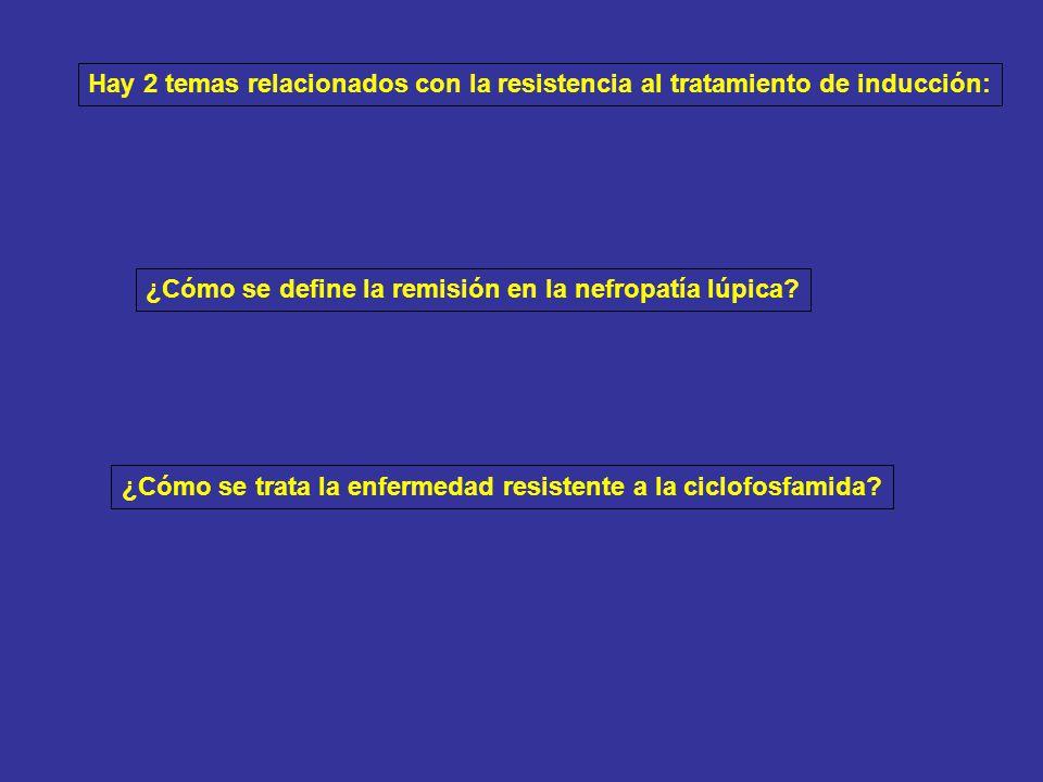 Hay 2 temas relacionados con la resistencia al tratamiento de inducción: