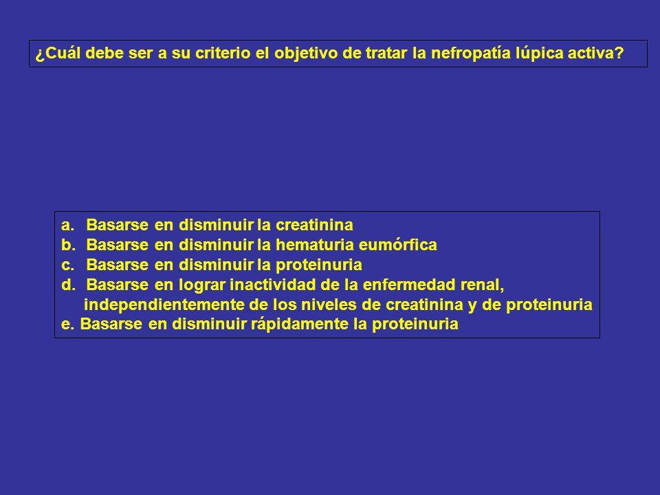 ¿Cuál debe ser a su criterio el objetivo de tratar la nefropatía lúpica activa
