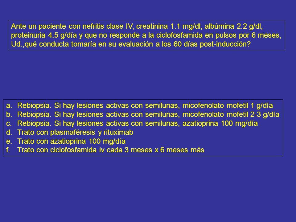 Ante un paciente con nefritis clase IV, creatinina 1