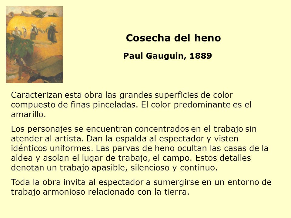 Cosecha del heno Paul Gauguin, 1889