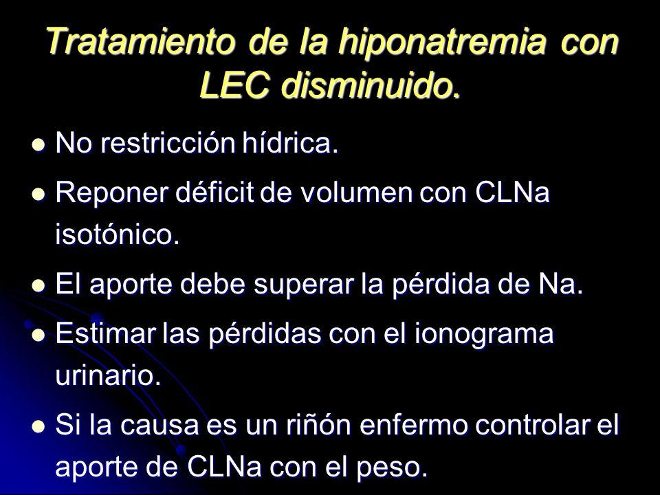 Tratamiento de la hiponatremia con LEC disminuido.