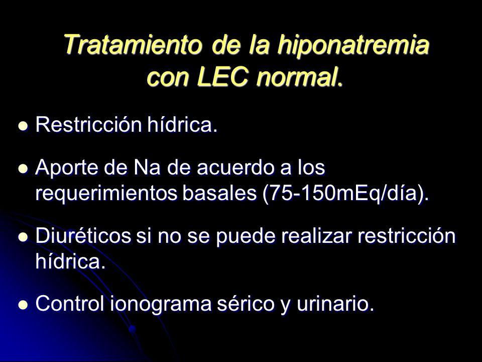 Tratamiento de la hiponatremia con LEC normal.