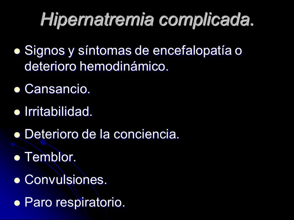 Hipernatremia complicada.