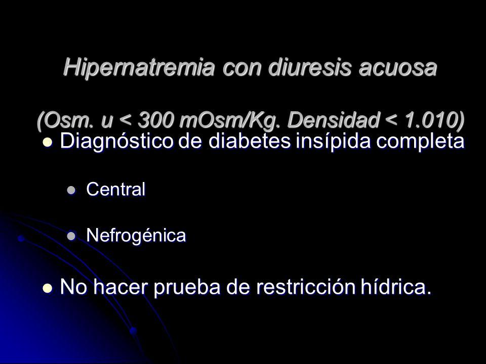 Hipernatremia con diuresis acuosa (Osm. u < 300 mOsm/Kg