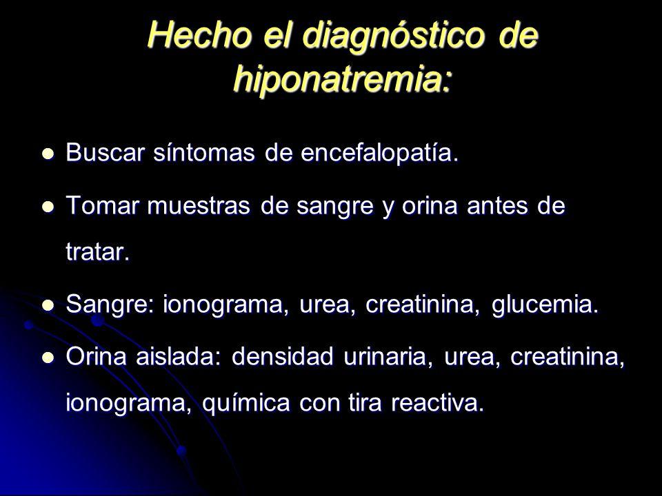 Hecho el diagnóstico de hiponatremia: