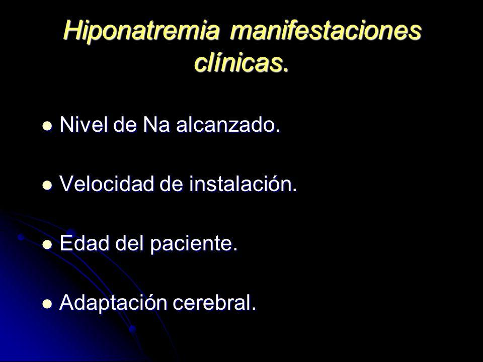 Hiponatremia manifestaciones clínicas.