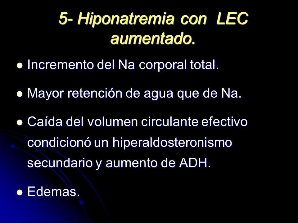 5- Hiponatremia con LEC aumentado.