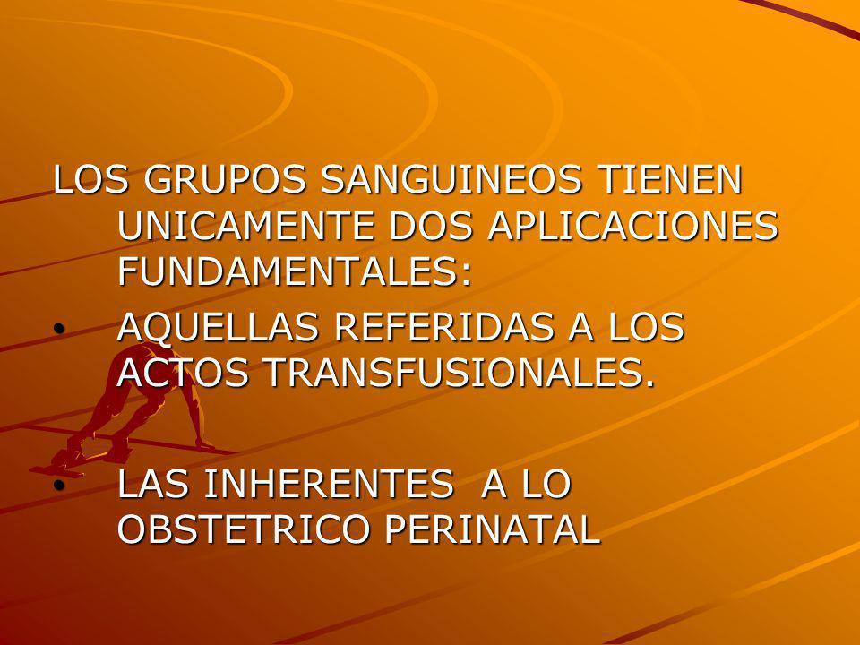 LOS GRUPOS SANGUINEOS TIENEN UNICAMENTE DOS APLICACIONES FUNDAMENTALES: