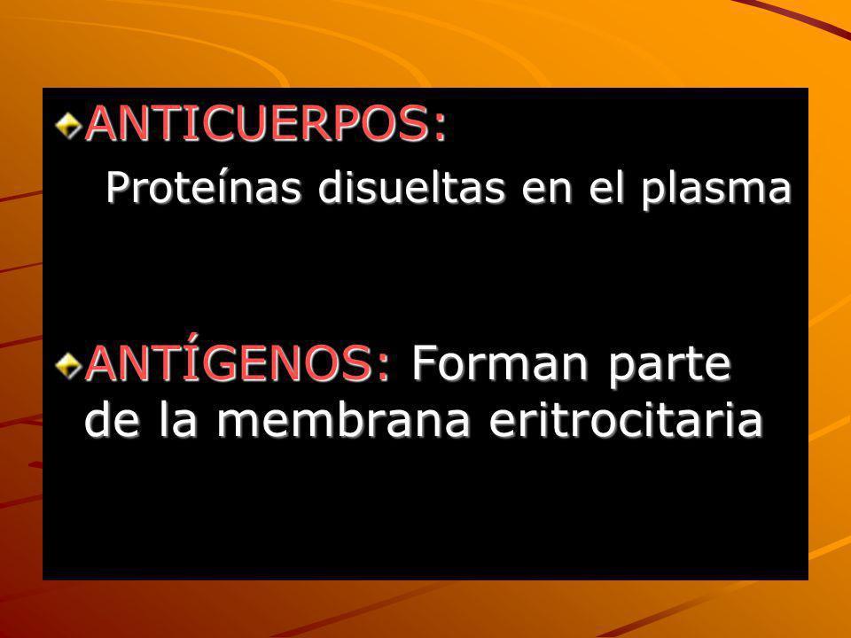ANTÍGENOS: Forman parte de la membrana eritrocitaria