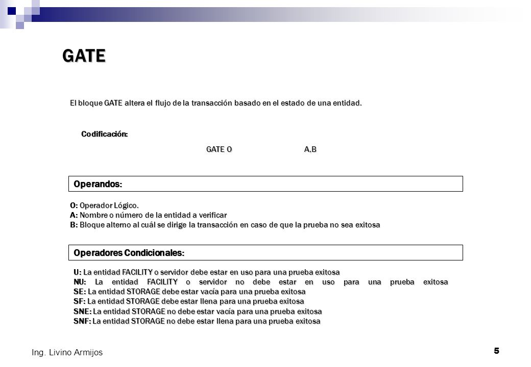GATE Operandos: Operadores Condicionales: Ing. Livino Armijos