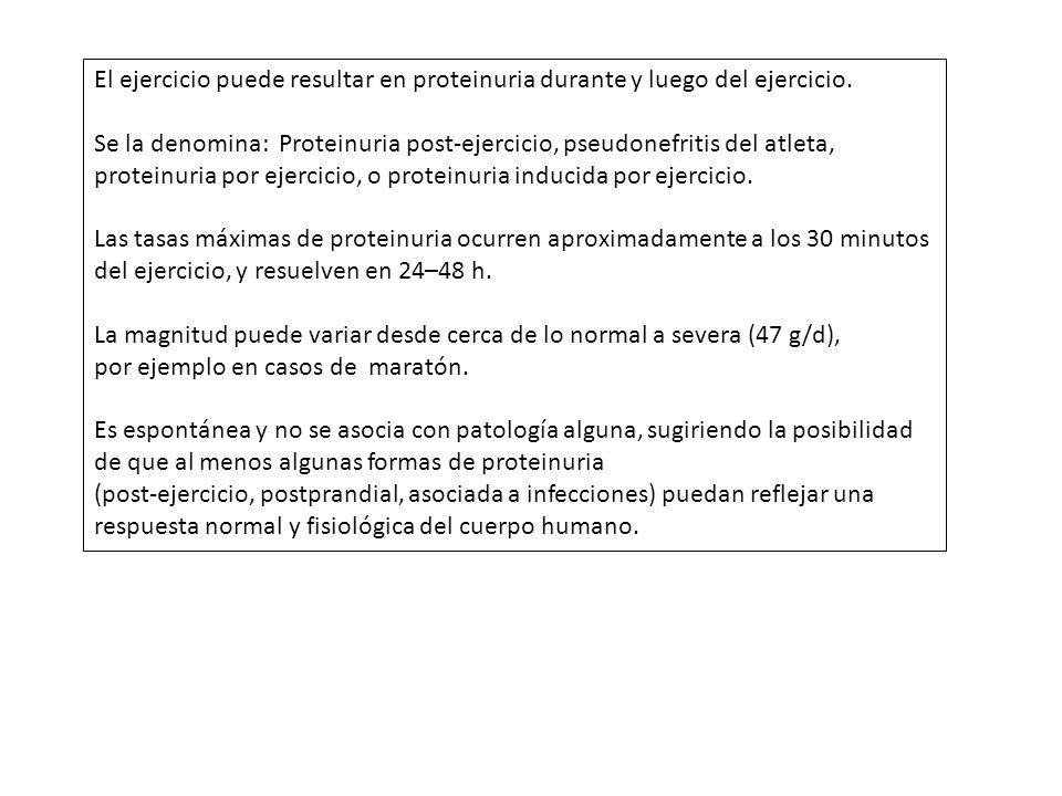 El ejercicio puede resultar en proteinuria durante y luego del ejercicio.