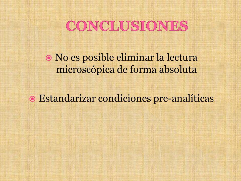 CONCLUSIONES No es posible eliminar la lectura microscópica de forma absoluta.