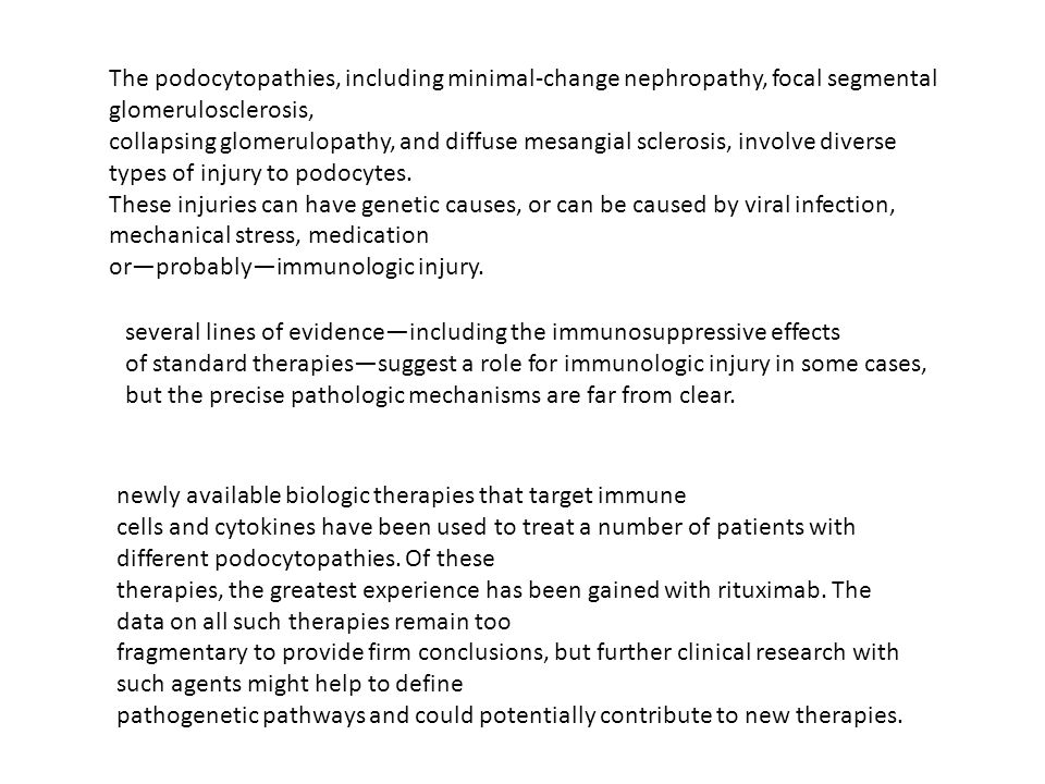 The podocytopathies, including minimal‑change nephropathy, focal segmental glomerulosclerosis,