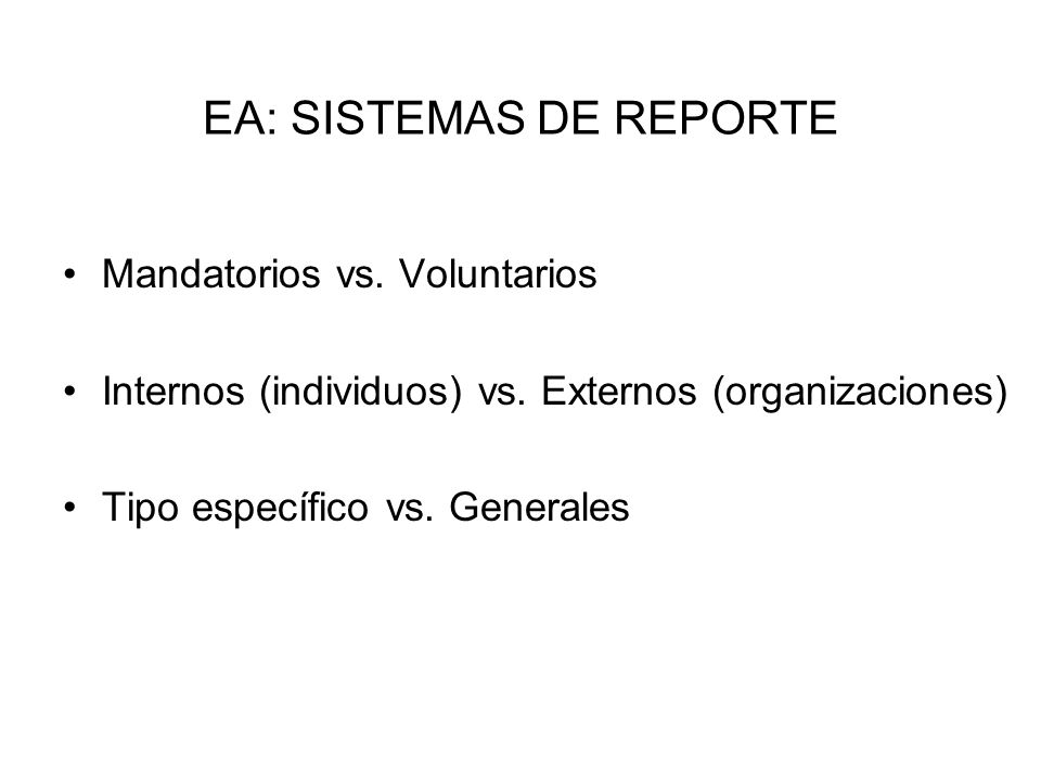EA: SISTEMAS DE REPORTE