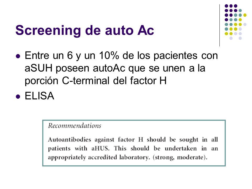 Screening de auto Ac Entre un 6 y un 10% de los pacientes con aSUH poseen autoAc que se unen a la porción C-terminal del factor H.