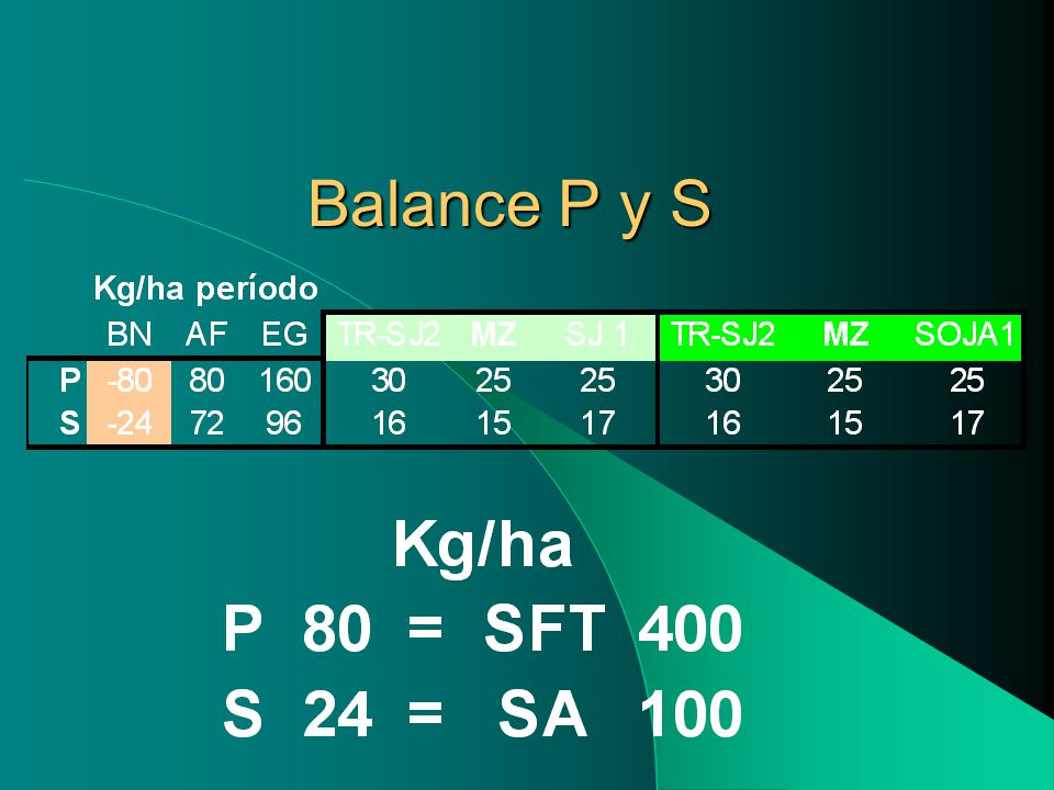 Balance P y S