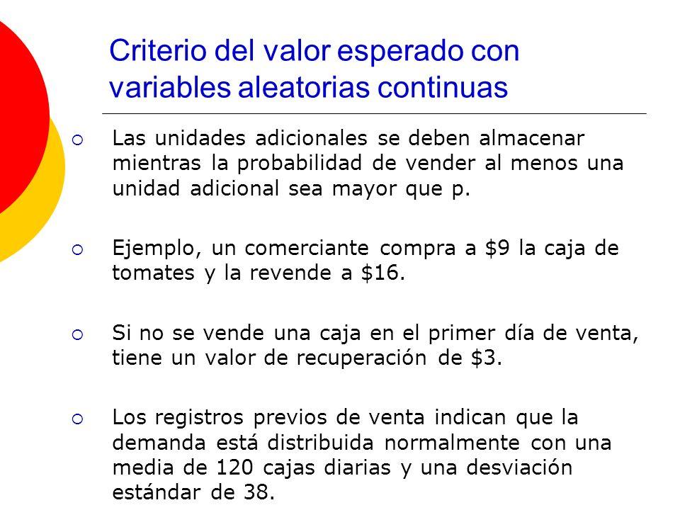 Criterio del valor esperado con variables aleatorias continuas