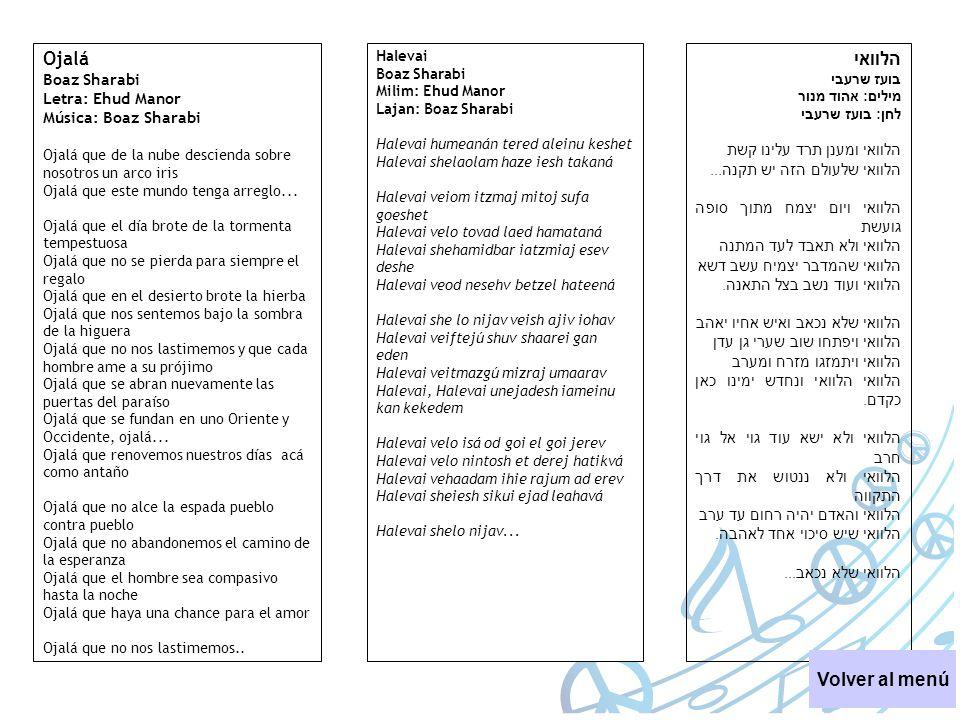 Ojalá הלוואי Volver al menú Boaz Sharabi Letra: Ehud Manor