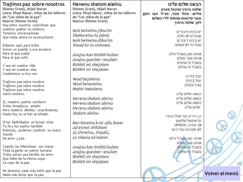 Trajimos paz sobre nosotros הבאנו שלום עלינו Hevenu shalom aleinu