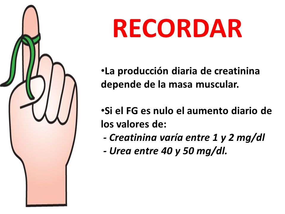 RECORDAR La producción diaria de creatinina depende de la masa muscular. Si el FG es nulo el aumento diario de los valores de:
