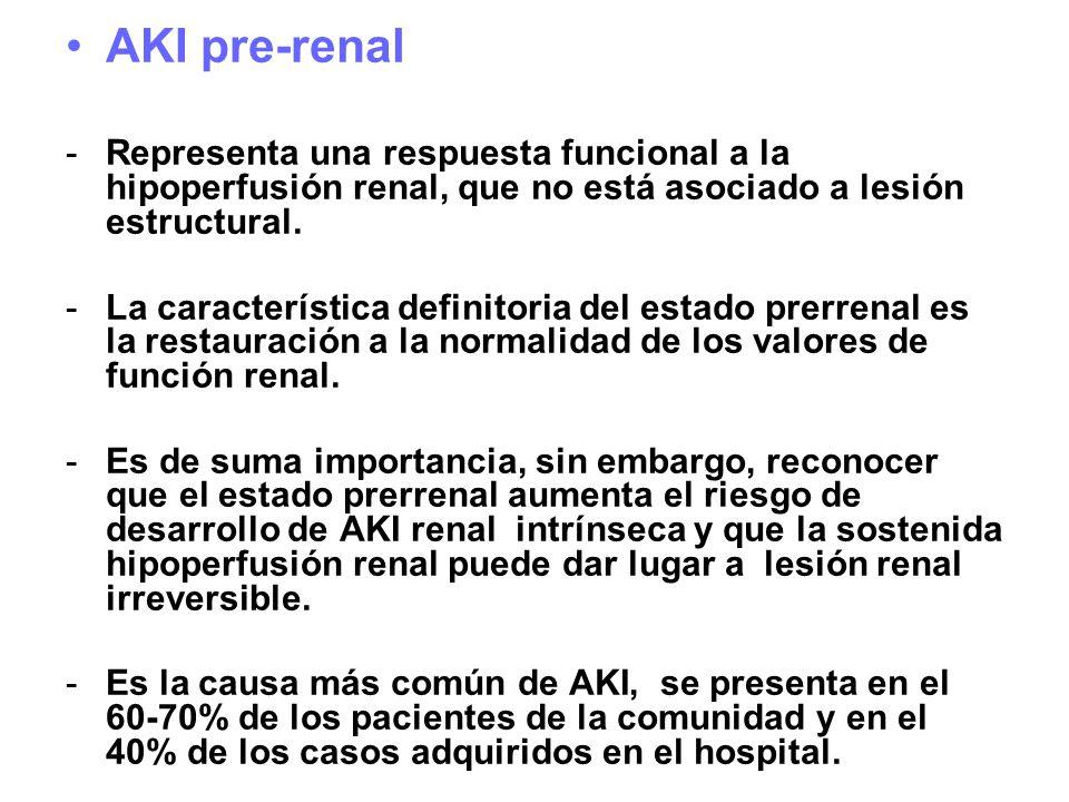 AKI pre-renal Representa una respuesta funcional a la hipoperfusión renal, que no está asociado a lesión estructural.