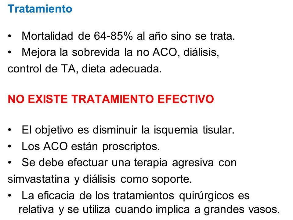 Tratamiento Mortalidad de 64-85% al año sino se trata. Mejora la sobrevida la no ACO, diálisis, control de TA, dieta adecuada.