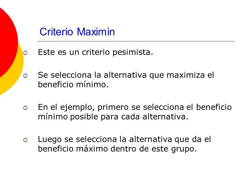 Criterio Maximin Este es un criterio pesimista.