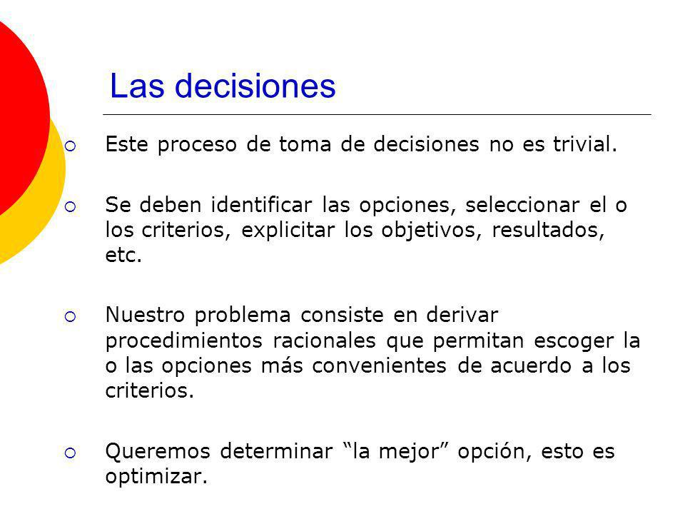 Las decisiones Este proceso de toma de decisiones no es trivial.