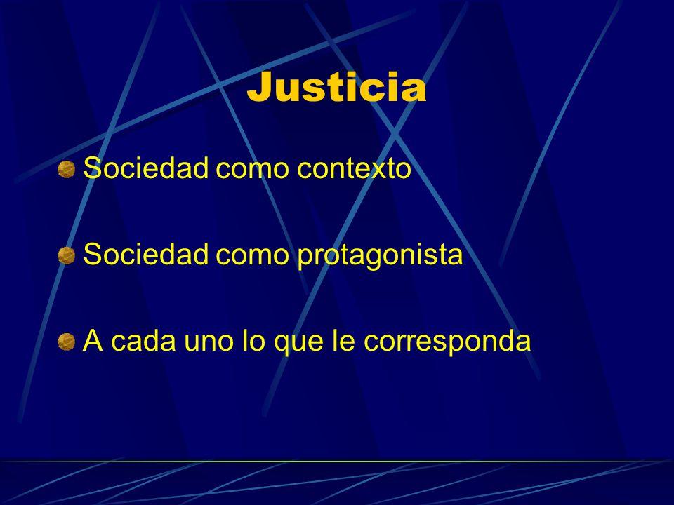 Justicia Sociedad como contexto Sociedad como protagonista