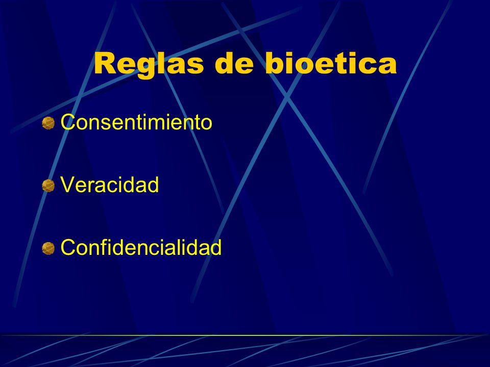 Reglas de bioetica Consentimiento Veracidad Confidencialidad