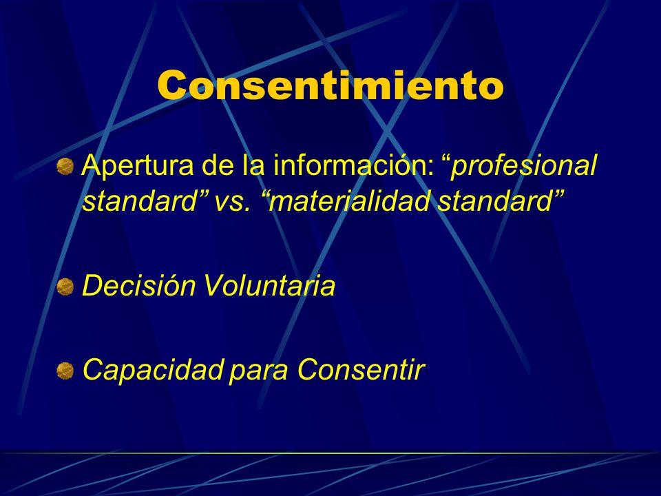 Consentimiento Apertura de la información: profesional standard vs. materialidad standard Decisión Voluntaria.
