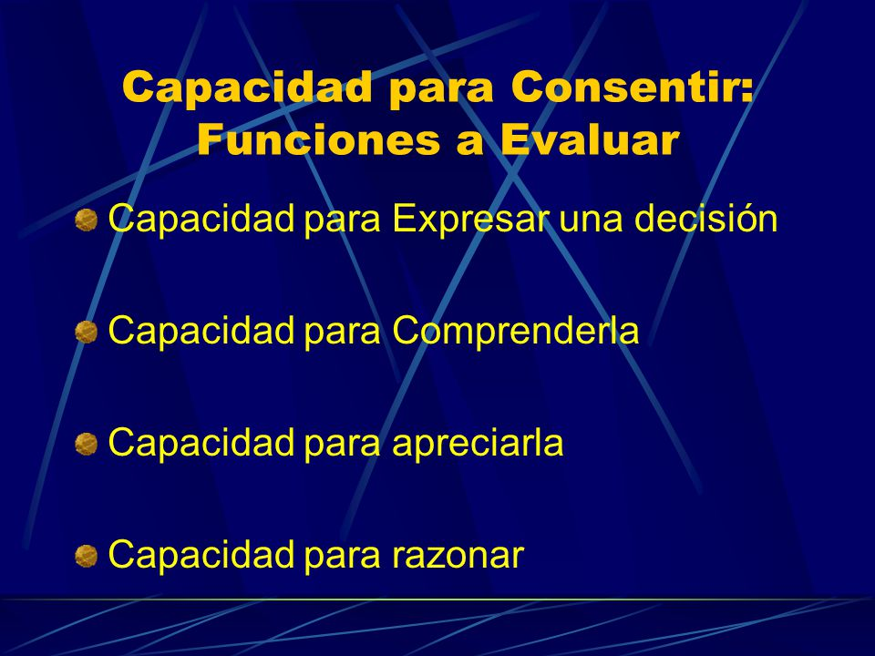 Capacidad para Consentir: Funciones a Evaluar